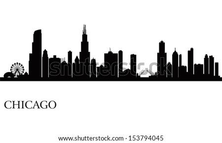 Chicago city skyline silhouette background. Vector illustration