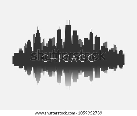 Chicago city skyline silhouette stock vector illustration