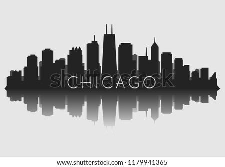 Chicago City Skyline Vector Silhouette with reflection