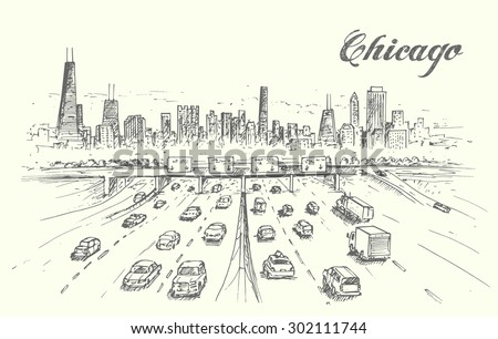 chicago highway hand drawn