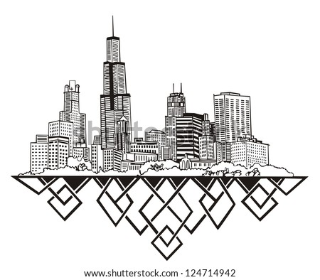 chicago  il skyline black and