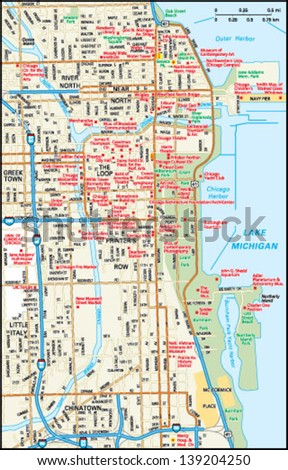 chicago  illinois downtown map