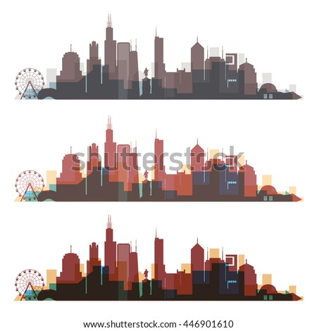 chicago  illinois skyline city