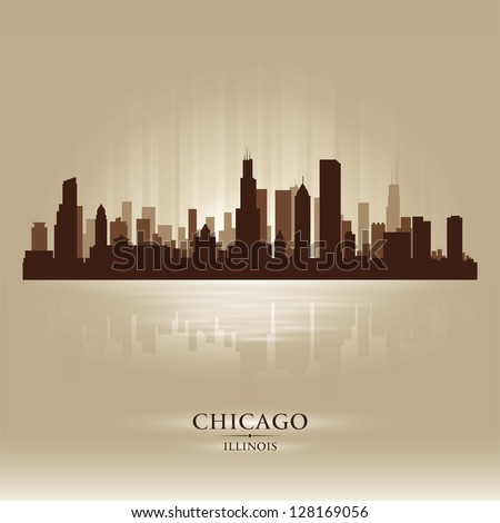 Chicago, Illinois  skyline city silhouette