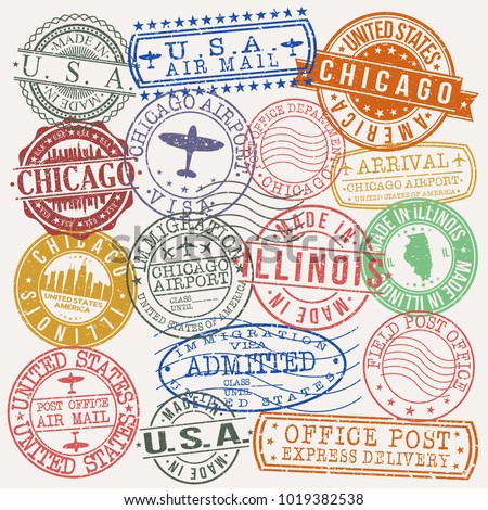 chicago illinois usa stamp...