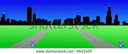 Chicago Skyline and interstates 55 and 290 illustration