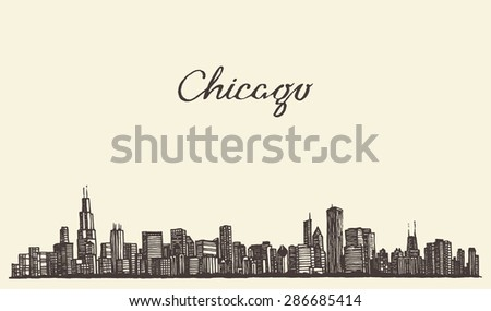 Chicago skyline, big city, architecture, engraving vector illustration, hand drawn
