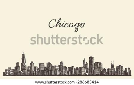 chicago skyline  big city
