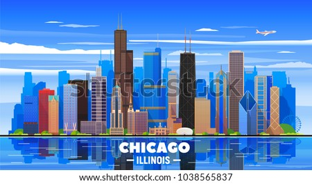 Chicago skyline on a background. Flat vector illustration. Business travel and tourism concept with modern buildings. Image for banner or web site.