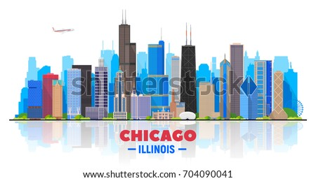 Chicago skyline on a white background. Flat vector illustration. Business travel and tourism concept with modern buildings. Image for banner or web site.