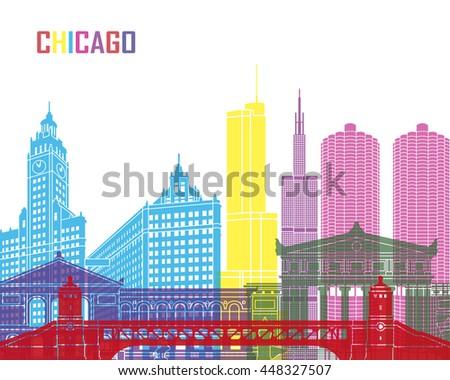 chicago skyline pop in editable