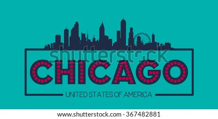 Chicago skyline silhouette poster vector design illustration