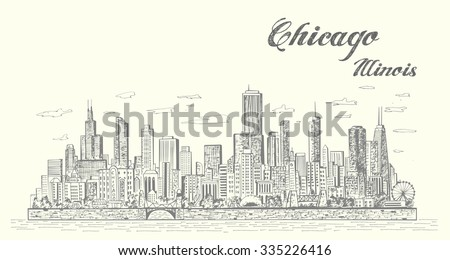 chicago skyline sketch style...