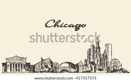 chicago skyline  vintage...