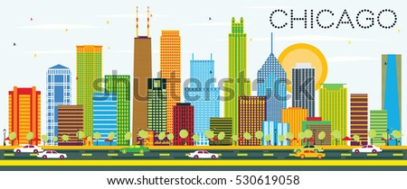 chicago skyline with color...