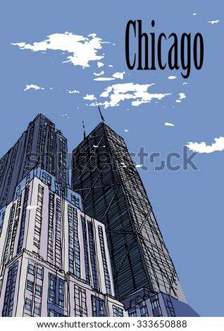 chicago skylines  illinois  usa