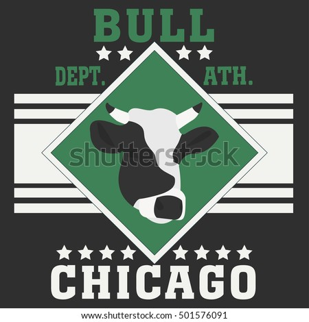 Chicago sport typography t-shirt champion college team bull icon - vector