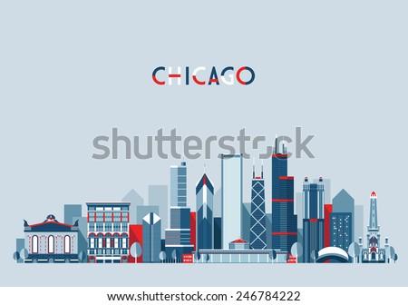 Chicago (United States) city skyline vector background. Flat trendy illustration.
