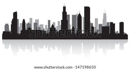 Stock Photo Chicago USA city skyline silhouette vector illustration