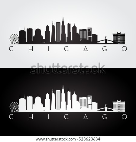 Stock Photo Chicago USA skyline and landmarks silhouette, black and white design, vector illustration.
