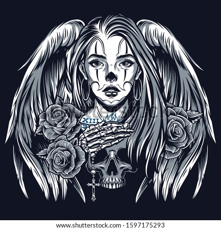 Chicano tattoo vintage concept with beautiful girl with angel wings roses skeleton hand lying on skull in monochrome style isolated vector illustration