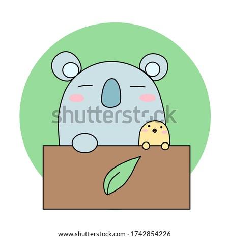 chick and koala with box