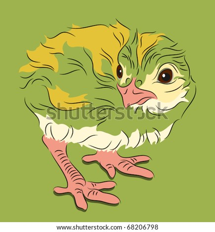 Chick in linear style on green background profile