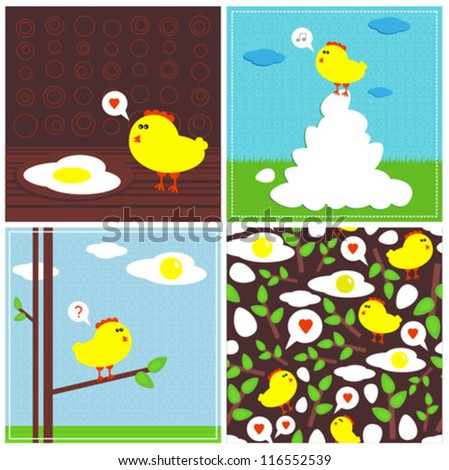 Chicken and fried eggs (Easter stories) Vector illustration and seamless pattern.