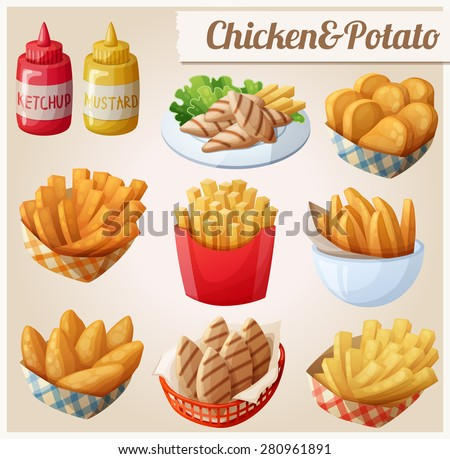 Shutterstock Chicken and potato. Set of cartoon vector food icons. Ketchup, mustard, grilled chicken strips, french fries, chicken fingers, sweet potato fries, nuggets