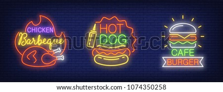 Chicken barbecue, hot dog, cafe burger neon sign set. Fire, sausage, hamburger . Night bright advertisements. Vector illustrations in neon style for fast food restaurant and cafe