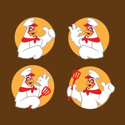 chicken chef cartoon character mascot