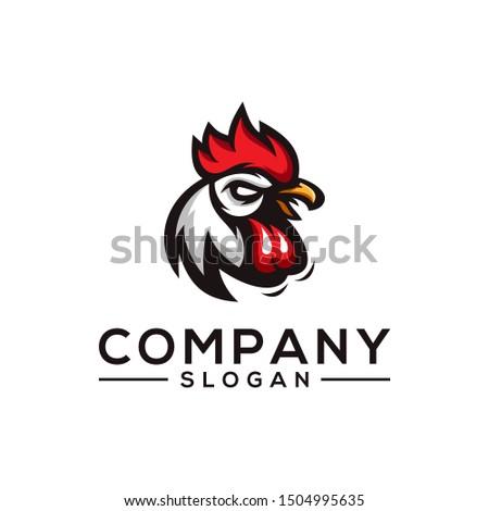 chicken color logo design vector