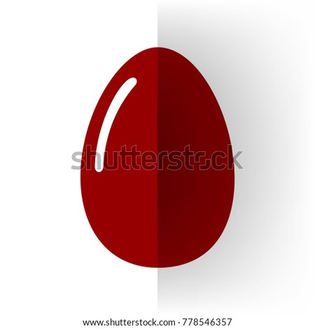 Chicken egg sign. Vector. Bordo icon on white bending paper background. #778546357