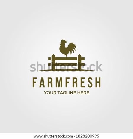 chicken farm logo vector illustration design, rooster on fence vintage logo design Foto stock ©