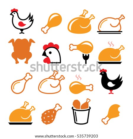 Chicken, fried chicken legs - food icons set