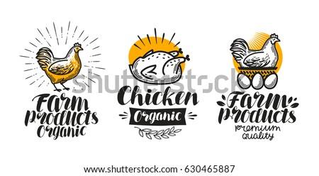 Chicken, hen label set. Poultry farm, egg, meat, broiler, pullet icon or logo. Lettering vector illustration