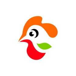 Chicken icon. Hen lorem ipsum. Agriculture Bird. Head Rooster sign. Cock symbol. Branding Identity Corporate vector logo design template Isolated on a white background
