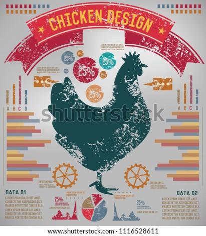 Chicken info graphic vector design