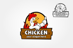 Chicken Logo Cartoon Character. A funny Cartoon Rooster chicken giving a thumbs up. Vector logo illustration.