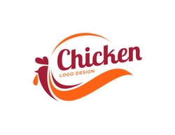 Chicken logo design. Flat style logo vector. Logo for business, food, restaurant.