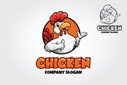 Chicken Mascot Logo. A happy Cartoon Rooster chicken giving a thumbs up in a circle graphic.