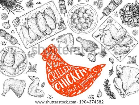Chicken meat. Grilled and Fried chicken. Hand drawn sketch illustration. Grilled chicken meat top view frame. Vector illustration. Engraved design. Restaurant menu design template.