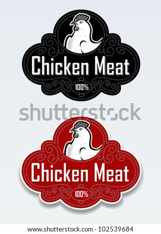 Chicken Meat Seal Sticker in vectors