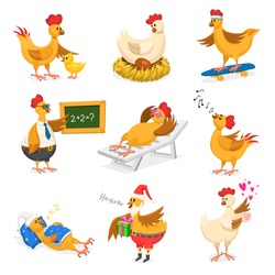 Chicken vector cartoon chick character on Christrmas or Valentines day party and hen in Santa hat with xmas gift fo kids and rooster in love with lovely hearts illustration on white background