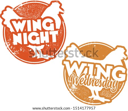 Chicken Wing Night and Wing Wednesday Stamps