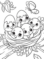 Chicks in the nest coloring book for kids. Black and white outline. Children s task Zoo page. Animals of Africa. Illustration for children. Cartoon characters. Isolated