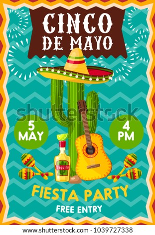 Chico de Mayo holiday celebration poster at bar or restaurant. Vector banner with symbolic Mexican elements sombrero hat on cactus, guitar, tequila and lime and maracas