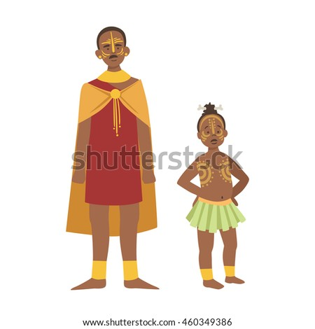chief and his son in skirt from