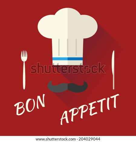 Chief Cook Symbol Toque Cuisine Hat with Mustache Food Icon on Stylish Background Modern Flat Design Vector Illustration