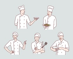 Chief cooking character. Hand drawn style vector design illustrations.